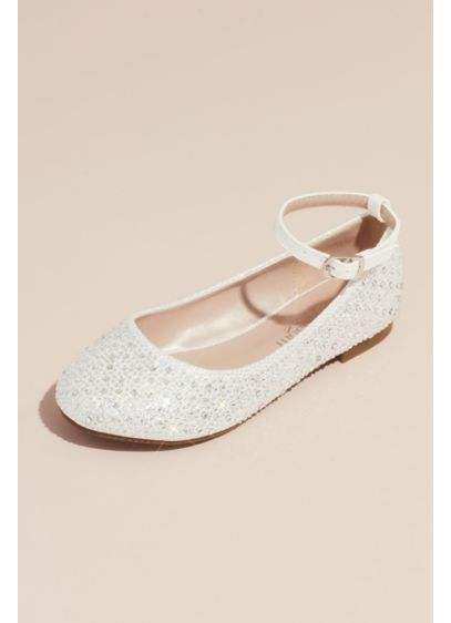 Girls Glitter Ankle Strap Embellished Ballet Flats - She'll love to walk, dance, and twirl in