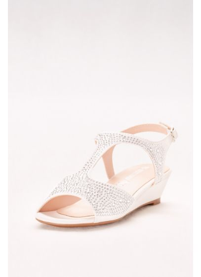 White (Crystal-Studded Girls Mini Wedges)