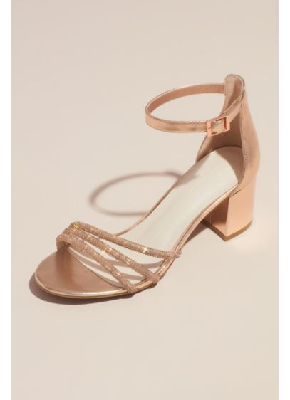 Crystal Embellished Metallic Block Heel Sandals - Make a sparkly statement in these metallic block