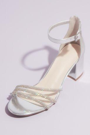 David's Bridal Grey;Pink Heeled Sandals (Crystal Embellished Metallic Block Heel Sandals)