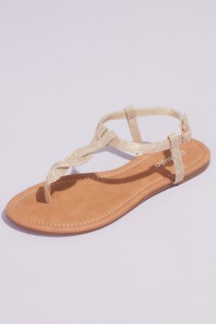 David's Bridal Grey;Yellow Flat Sandals (Metallic Twist T-Strap Flat Ankle Sandals)