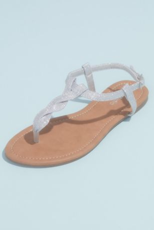 Grey;Yellow Flat Sandals (Metallic Twist T-Strap Flat Ankle Sandals)