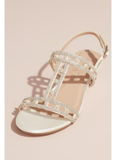 Pink Paradox Ivory (Satin Wedge Sandal with Crystals and Pearls)
