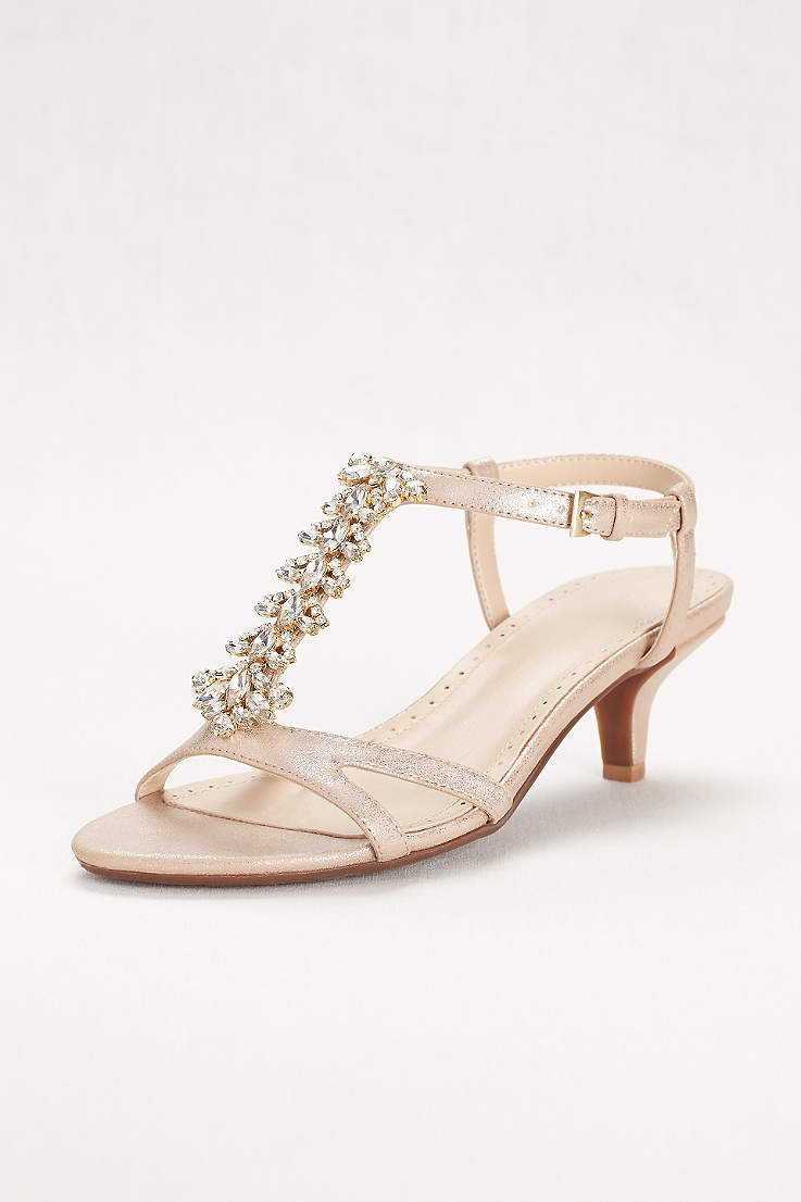 03c983a5351 David s Bridal Ivory Heeled Sandals (Crystal T-Strap Low Heel Sandal)