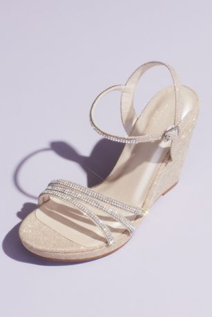 David's Bridal Grey;Ivory Wedges (Glitter Metallic Wedges with Embellished Straps)