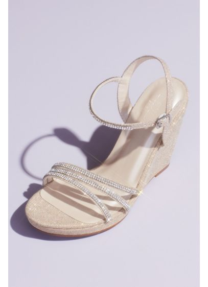 Glitter Metallic Wedges with Embellished Straps - Step up your party outfit with a light-catching