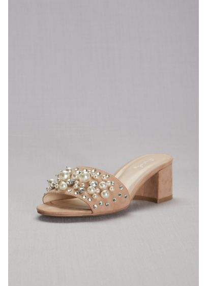 Qupid Pink (Pearl and Crystal Faux-Suede Block-Heel Mules)