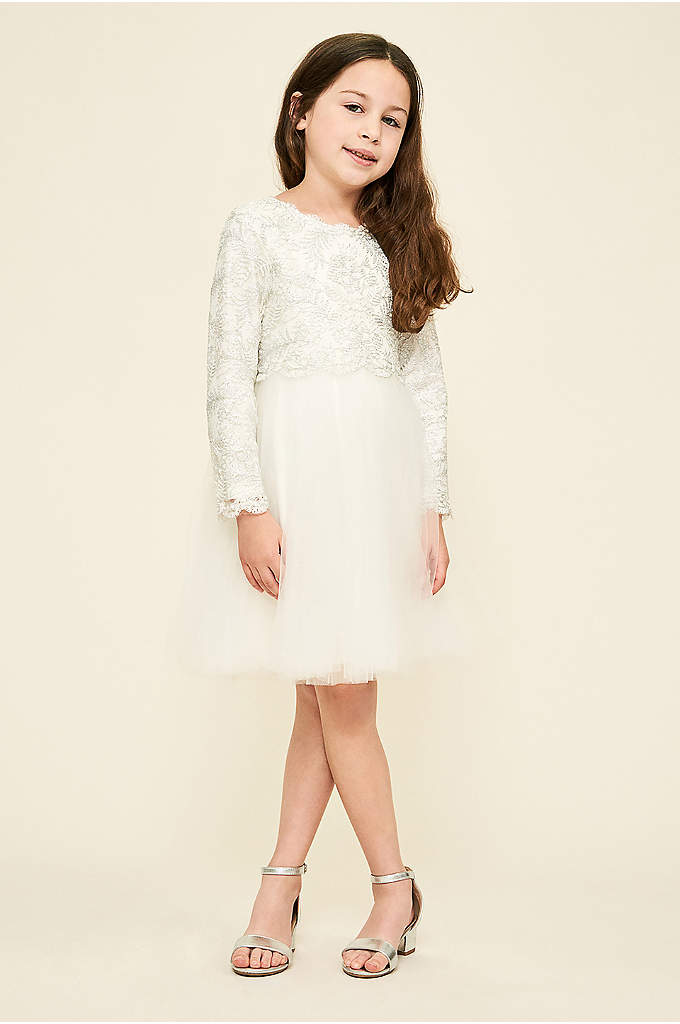 Long Sleeve Lace and Tulle Flower Girl Dress - This pretty flower girl dress is topped with