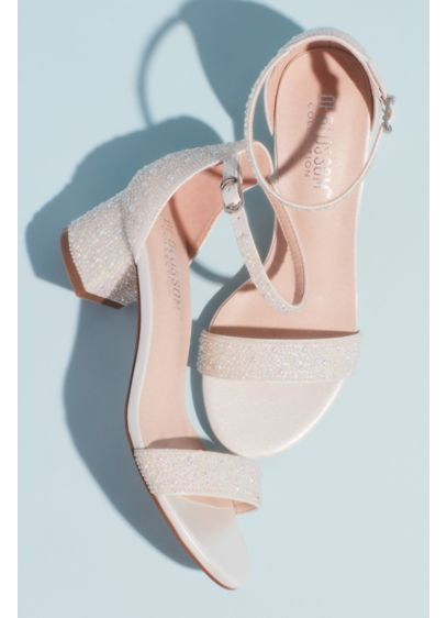 Blossom White (Allover Iridescent Pearl Low Block Heel Sandals)
