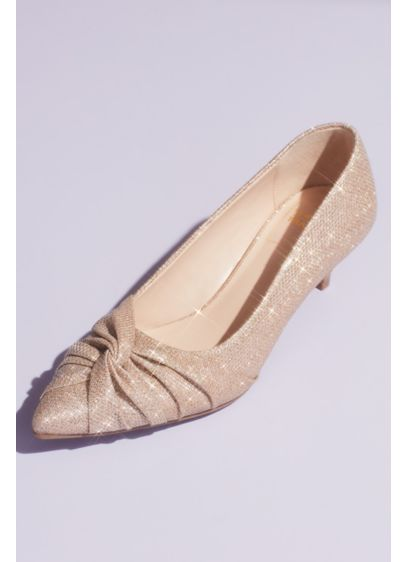 Metallic Glitter Ruched Twist Kitten Heels - No need to sacrifice fashion for function in