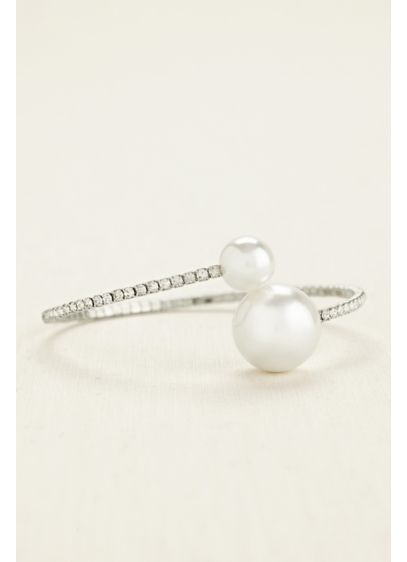Crystal Wrap Bracelet with Multi Pearl Baubles - Wedding Accessories