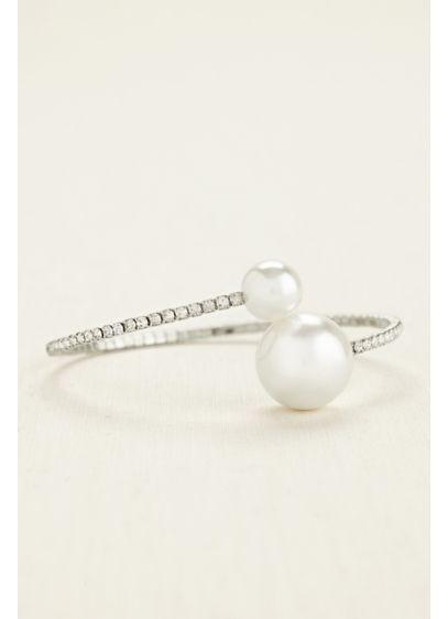 David's Bridal Grey (Crystal Wrap Bracelet with Multi Pearl Baubles)
