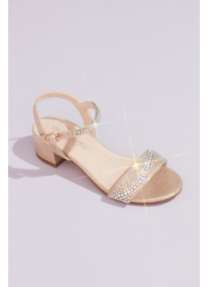 Girls Low Block Sandals with Embellished Straps - Even the littlest ladies deserve some glitter! The