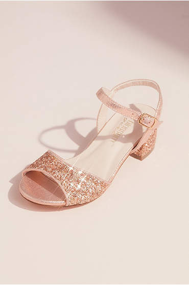 Girls Glitter Peep Toe Sandals with Block Heel