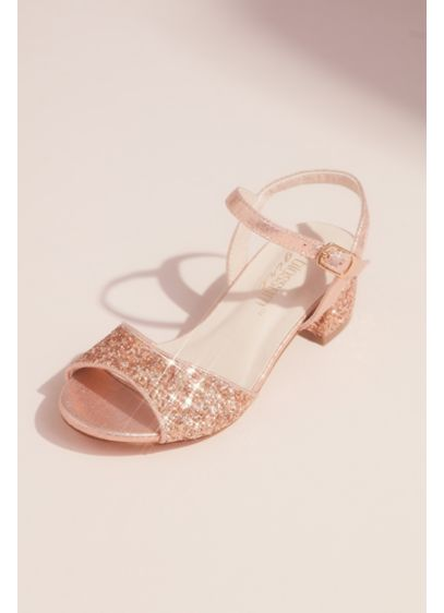 Blossom Grey (Girls Glitter Peep Toe Sandals with Block Heel)