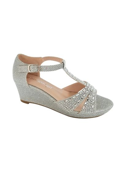 Blossom Grey (Girls Embellished Sparkle T-Strap Wedges)