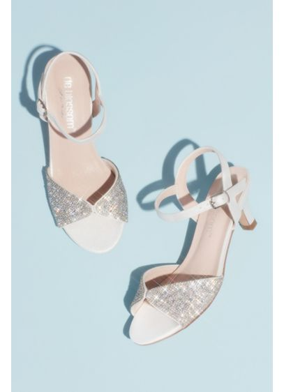 Blossom White (Girls' Pave Crystal Peep Toe Ankle Strap Sandals)