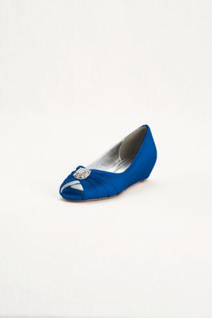 David's Bridal Black;Blue;Grey;Ivory;Pink;Purple;Red;White Peep Toe Shoes;Wedge Shoes (Dyeable Wedge Peep Toe with Rhinestone Ornaments)