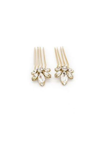 Swarovski Crystal Marquise Flower Mini Comb Set - Wedding Accessories