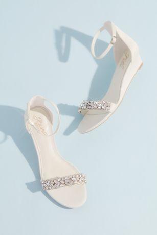 David's Bridal Ivory Wedges (Crystal-Embellished Low Wedge Sandals)