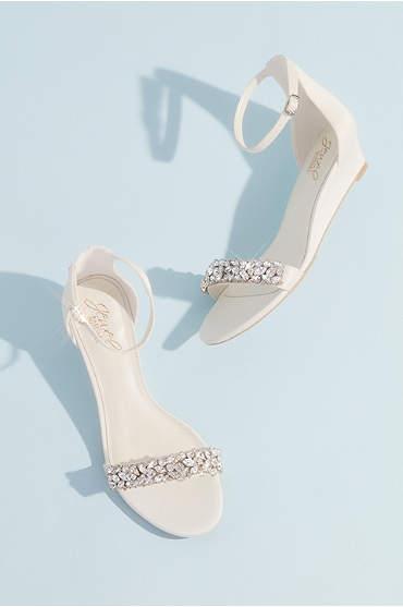 Crystal-Embellished Low Wedge Sandals