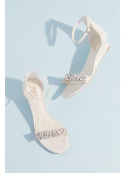David's Bridal Ivory (Crystal-Embellished Low Wedge Sandals)