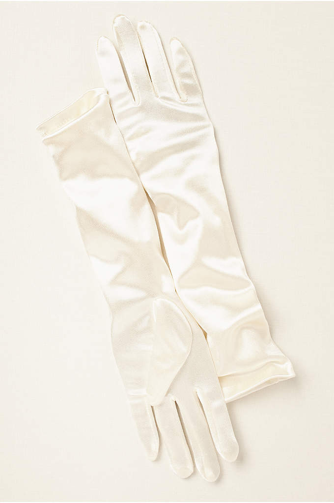Girls Elbow-Length Satin Gloves - These elbow-length girls satin gloves are perfect for