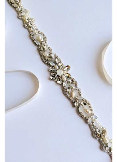Floral Vine Beaded Opal and Swarovski Crystal Sash - Hand sewn with silver thread, this beautifully beaded