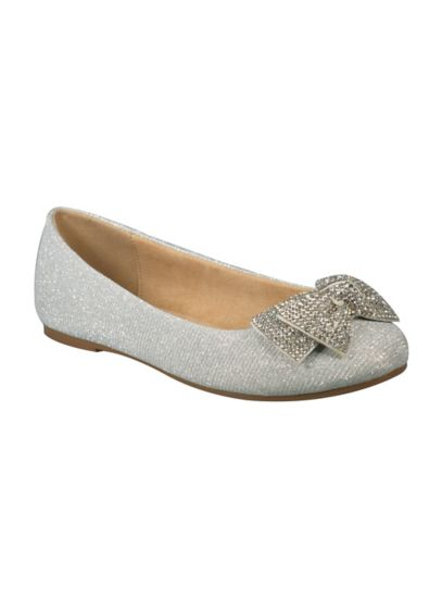 Blossom Grey (Girls Glitter Ballet Flats with Crystal Bow)