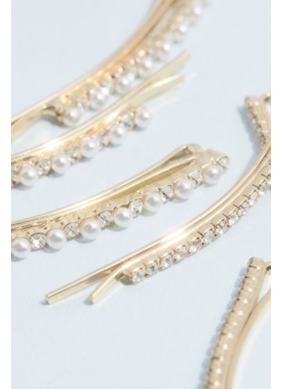 Crystal and Pearl Bobby Pin Six Pack - These pearl and crystal embellished bobby pins are