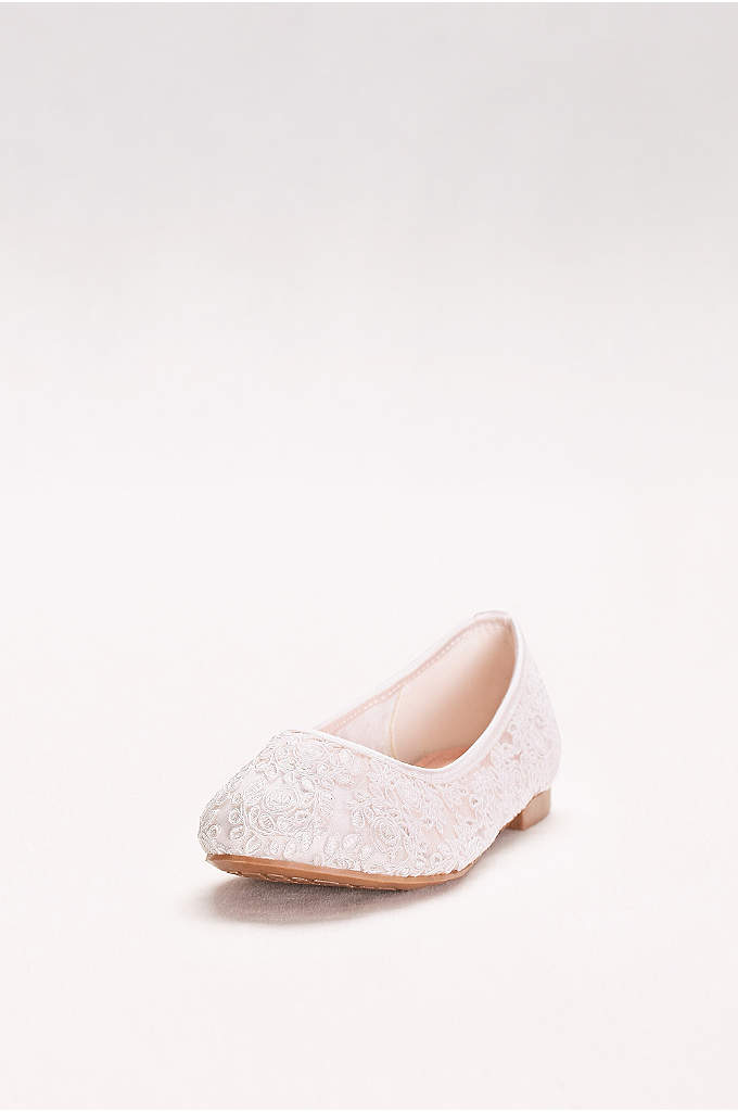 Girls Corded Lace Ballet Flats - Textured, lacy swirls embellish a classic ballerina silhouette.