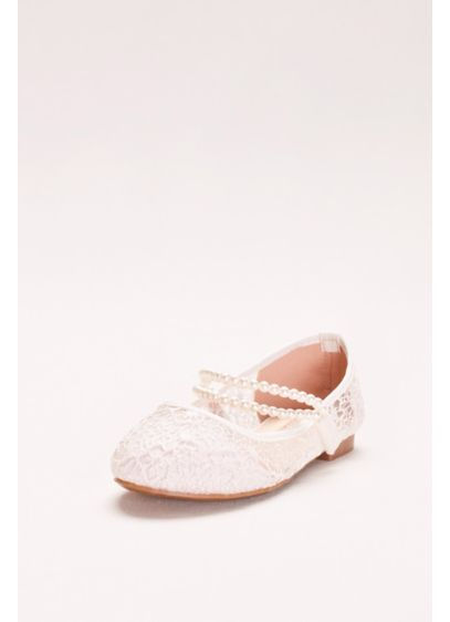 Girls Lace Mary Janes with Pearl Strap - The flower girl deserves shoes as special as