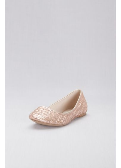 David's Bridal Pink (Crystal Embellished Round-Toe Flats)