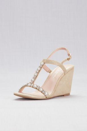 Pink Paradox Grey;Ivory Peep Toe Shoes (Pearl T-Strap Metallic Shimmer Wedges)