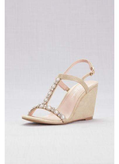 Pink Paradox Grey (Pearl T-Strap Metallic Shimmer Wedges)