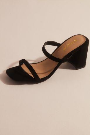 Bamboo Beige;Black;White Heeled Sandals (Slim Double Band Block Heel Mule Sandals)