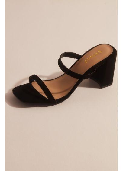 Bamboo White (Slim Double Band Block Heel Mule Sandals)