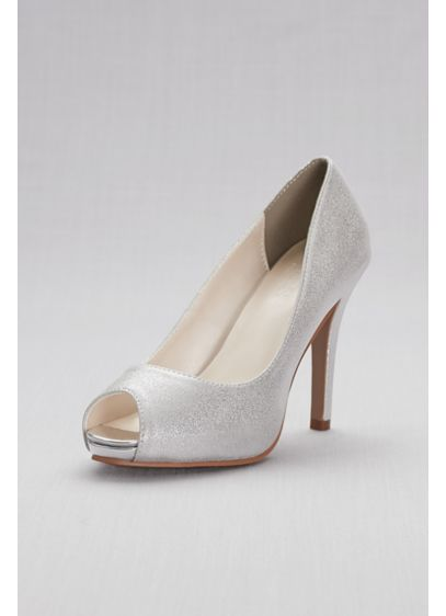 David's Bridal Grey (Shimmer Peep-Toe Platform Pumps)