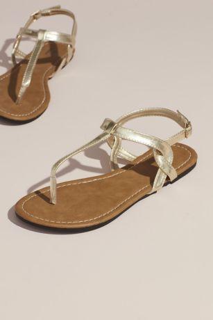David's Bridal Beige;Grey;Pink;Yellow Flat Sandals (Twisty T-Strap Strap Flat Sandals)