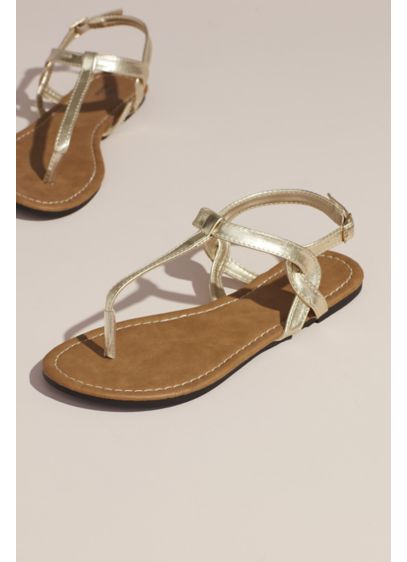 David's Bridal Yellow (Twisty T-Strap Strap Flat Sandals)