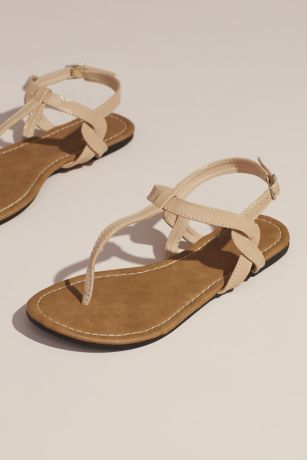 David's Bridal Beige;Grey;Pink;Yellow Flat Sandals (Twisty T-Strap Strap Flat Sandals)