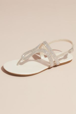 David's Bridal Ivory Flat Sandals (Crystal Embellished Glitter Flat Sandals)