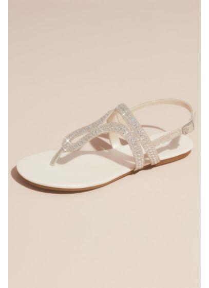 David's Bridal Ivory (Crystal Embellished Glitter Flat Sandals)