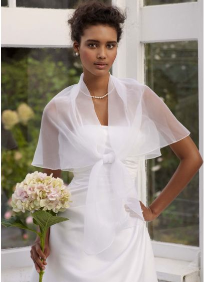 Tie Front Organza Jacket - Wedding Accessories