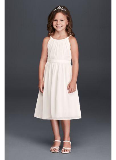 479e64387b6 Spaghetti Strap Chiffon Tea Length Dress