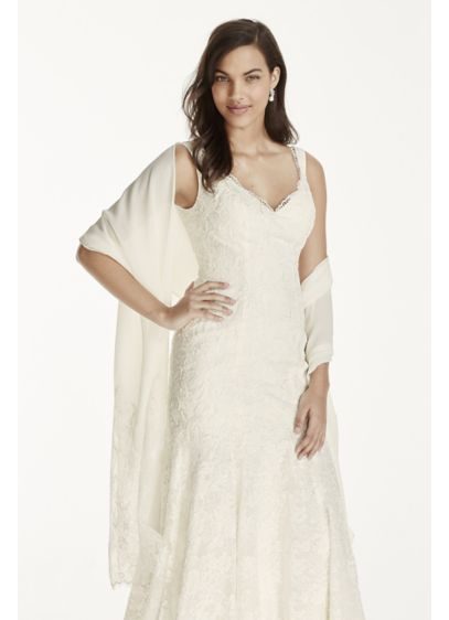 David's Bridal White (Chiffon Wrap with Lace Applique Border)