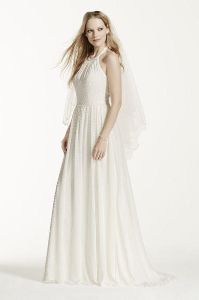 Dotted Chiffon A Line Dress With Halter Neckline David S Bridal