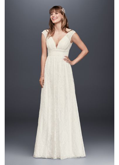 Lace Sheath Wedding Dress With Illusion Cap Sleeve