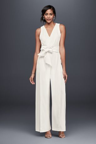 Surplice Bodice Crepe Jumpsuit with Wide Sash | David's Bridal | Tuggl