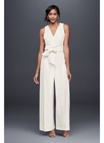 2bfb8ea69355 Surplice Bodice Crepe Jumpsuit with Wide Sash